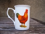 China Mug with Rhode Island Red Cockerel Decoration (Hen on opposite side)