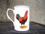 China Mug with Red and Black Rooster Decoration (Hen on opposite side)